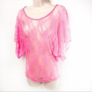 Hyper-Pink Lace Top 80's Style Sz S